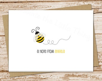 PRINTABLE personalized bee note cards notecards . bumble bee personalized stationery . folded stationary . teacher gift . You Print