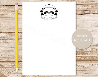 panda bear notepad . note pad . personalized stationery . panda stationary . hello from notepad