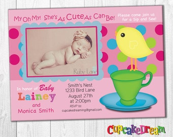 Girl Baby Shower Invitation, Sip and See Invitation