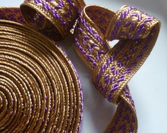 Moroccan trim, bronze and dark lilac art  silk, 5 metres