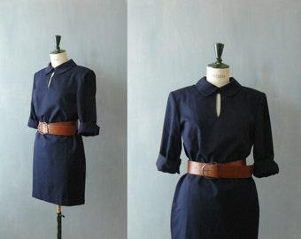 Vintage 1980s minidress. 80s blue wool dress. shift dress