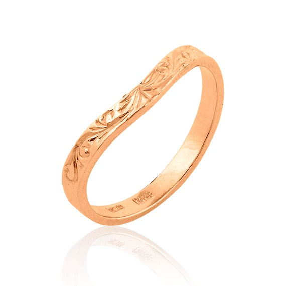 Rose Gold Stacking Ring Curved Art Deco Wedding Band