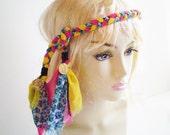 Pink Yellow Blue Boho Headband, Colorful Braid Headband, Colorful Bohemian Headband, Boheme Braid Headband, Boho Braided Headband Tie
