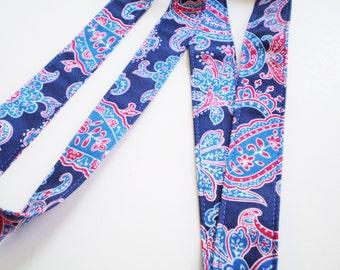 Blue and Red Paisley Lanyard, Boho Paisley Lanyard, Pasisley Bohemian Lanyard, Blue Red Fabric Lanyard