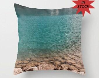 ON ORDER Turquoise Cushion Cover, Mountain Lodge Decor, Nature Accent Pillow Case, Nautical Sofa Throw, Lake Louise Alberta Canada