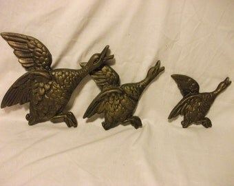 Vintage Metal Flying Ducks - Wall Hanging Decor - Mid Century - 1960s