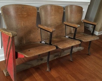 Theater Chairs. Theater Seats. Entryway Furniture. Wood Iron Folding Cinema Seats Industrial Furniture Decor Rustic Modern Bench Retro Warm