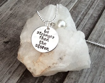 Be Stronger than the Storm Silver Plated, semi colon project, sentimental necklace