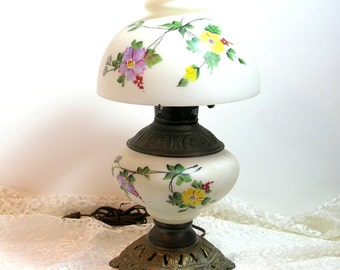 Milk Glass Hurricane Lamp With Hand Painted Flowers