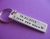 Custom Keychain, Personalized Keychain, Gift for Her, Gift for Him, Anniversary Gift, Anniversary Keychain, Handstamped Keychain, Couples