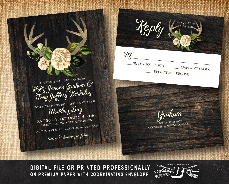 Wedding Invites Rustic: Rustic Wedding Invitation SET Antler Wedding Invitation