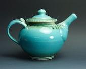 Handmade stoneware teapot 32 oz blue tea pot 3228