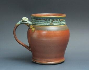 Pottery beer mug,  ceramic mug, extra large stoneware stein, iron red 24 oz 3477