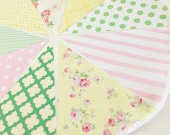 Shabby Chic Bunting, Banner Garland Flags, Floral Pink, Yellow, Mint, Baby Nursery Decor, Newborn Photo Prop, Birthday Party, Pastel Flower