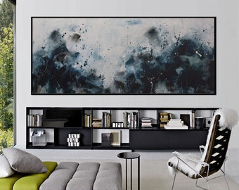 72x30 Large Abstract Painting Original seascape Painting blue art -Aquarius rising - black floating frame Elena Petrova