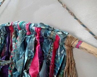 Driftwood Wall Decor, Bohemian Home Decor, Shabby Wall Hanging, Beach Home Decor, Pagan Wall Hanging, Bohemian Headboard, Batik Art