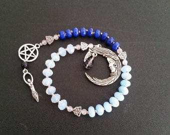 Moon Goddess Witches' Ladder - Pagan Prayer Beads - Wiccan Meditation Beads - Pentacle, Pentagram, Fertility