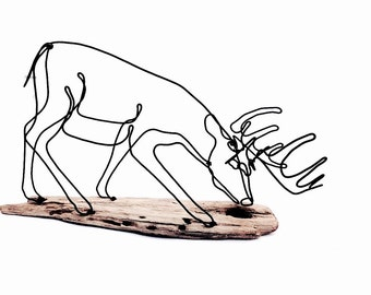 Grazing Buck Wire Sculpture, Deer Wire Sculpture, Deer Wire Art, Trophy Buck Wire Sculpture, 466484126