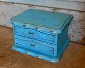 Jewelry Box Turquoise and Gold Distressed Wooden