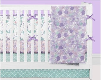 Mermaid Crib Bedding Girl, Ocean Nursery Bedding Baby Crib Set, Purple Mint Turquoise Pink Coral Seashell Underwater Starfish Bumpers