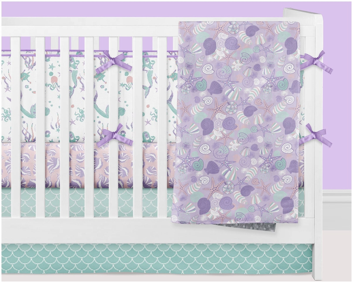 Mermaid Crib Bedding Girl Ocean Nursery Bedding Baby Crib