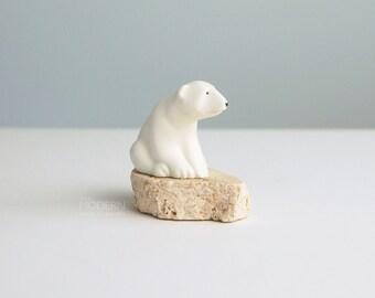 Maigon Daga Modern Polar Bear on Rock Sculpture