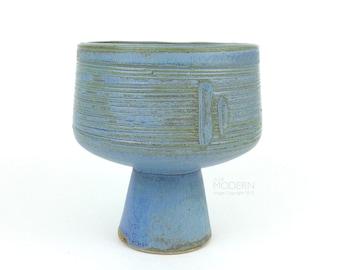 Japanese Ikebana Blue Modern Incised Raised Pedestal Planter
