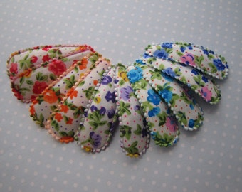 Bright Florals . snap clips . toddler hair accessory . blue purple red orange