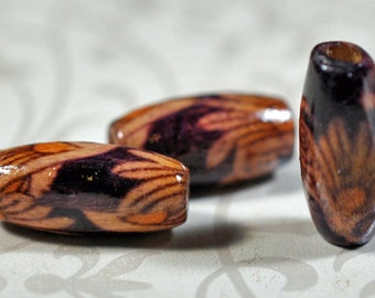 painted wood oval beads, 14x7mm, #930