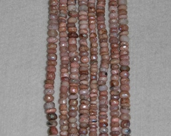 AB, AB Opal, Pink Opal, Pink Opal Rondelle, Faceted Rondelle, Gemstone, Natural Gemstone, Peruvian Opal, Sparkle, Strand, 5-6mm
