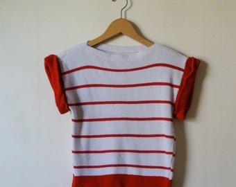 25% OFF SALE Vintage Striped Blouse - Red and White Stripes - Size Small