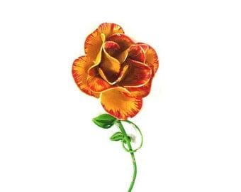 Vintage rose enamel brooch