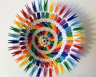 3d origami Rainbow/white vase