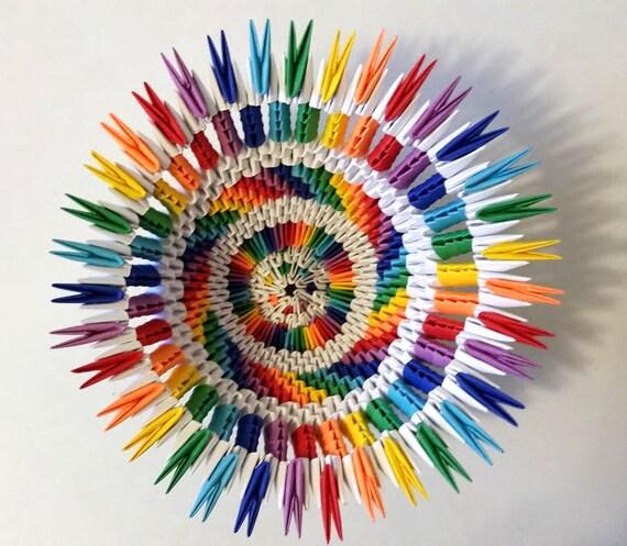 Vase 3d Origami Diagram: 3d Origami Rainbow/white Vase