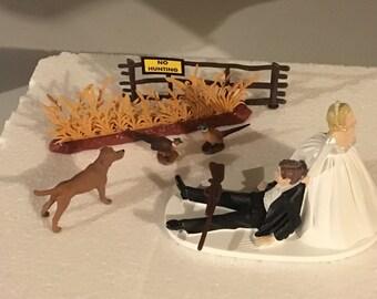 Pheasant Hunting Wedding Cake Topper Groom's Cake Brown Lab