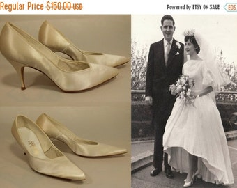 ON SALE 30% OFF The Wedding March Begins - 1950s Nos Pearl Ivory Satin Pointed Toe Pumps Heels Stilettos -  8