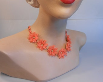 Snowbirds Head to Florida - Vintage 1950s Tangerine Orange Soft Plastic Floral Necklace
