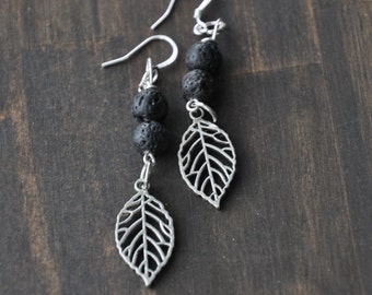 Essential Oil Diffusing Lava Bead Earrings with leaf charms