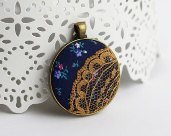 Floral Print Lace Necklace, Vintage Fabric Jewelry Teal and Navy Blue Necklace Mustard Yellow Lace Necklace, Fabric Pendant, Lace Jewelry