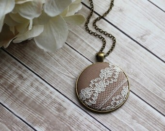 Large Pendant With Lace, Floral Rustic Wedding, Mother of the Bride Gift, Beige Bridesmaid Jewelry, Ivory, Tan, Taupe, Camel, Caramel Brown