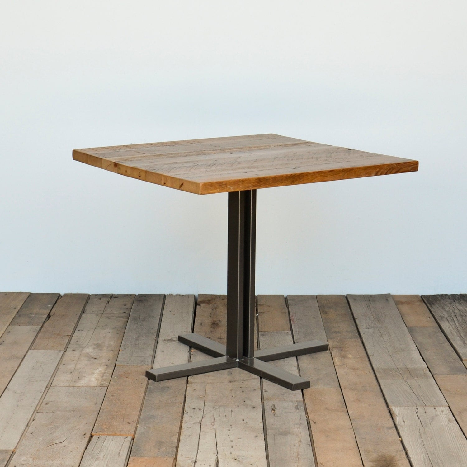 Small Wood Table With Hand Welded Square Steel Pedestal Base