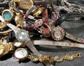 Watches for Parts or Repair Twenty Five (25) Assorted Watches Mechanical Movements Gears Face Plates Crystals Jewelry Art Supplies (F125)