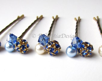 Sapphire Blue Hair Pins, Crystal Rhinestone and Pearl Cluster Bobby Pins, Something Blue Wedding