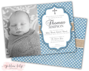 Baby Boy Baptism Invitation- Twins/ Boys / DIY / Printable / Bridal Shower / Baby Shower / Baby Blue / Polka Dots