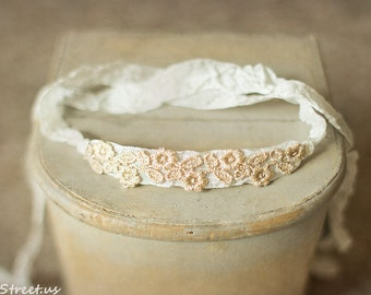 Baby Gold and Ivory Headband, Newborn Headband, Baby Tieback, Baptism Headband, Newborn Photo Prop, Newborn Props, Off White Headband