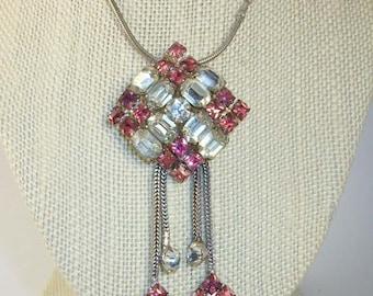 REDUCED: Vintage Krementz Silver Tone Pendant Bauguett, Princess, Round Pink and Clear Rhinestones