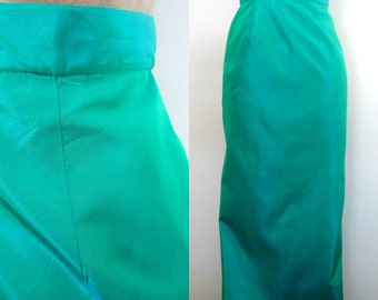 1960s Taffeta Maxi Pencil Skirt // Mid Century Iridescent Blue Green Long Skirt
