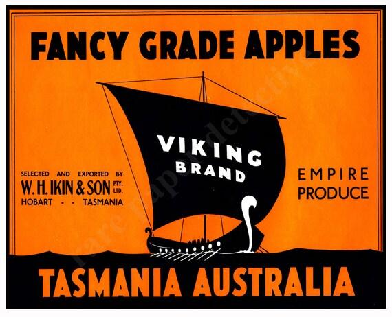 Fancy Grade Apples Australian Fruit Crate Label Home Decor