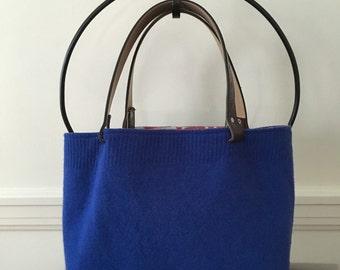 Royal Blue Felted Tote Bag