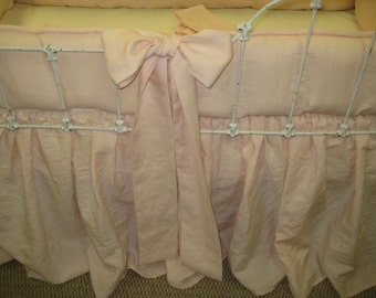 Washed Linen Tailored Crib Bedding with Tiny Ties-6 Over Sized Sashes/Crib Bows-Storybook Crib Skirt